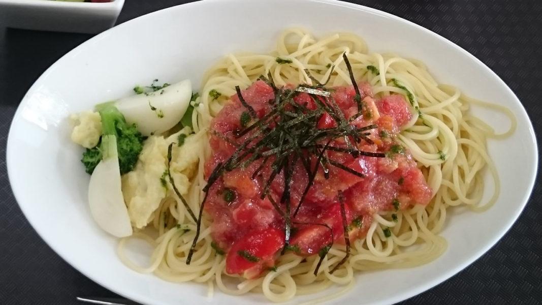 トマト&明太子パスタ バジル風味